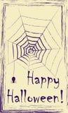与蜘蛛净额的明信片 库存图片