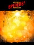 与蜘蛛和网的橙色背景 库存照片