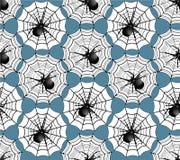 与蜘蛛的无缝的背景在万维网 图库摄影