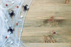 与蜘蛛网的万圣夜背景,蜘蛛,作为万圣夜的标志的微笑的起重器装饰在木背景的 免版税库存图片