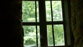与蜘蛛网的Anicent玻璃窗 影视素材