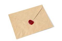 与蜡封印的信封 库存照片