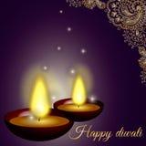 与蜡烛、样式和闪烁的愉快的diwali背景 库存照片