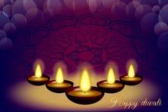 与蜡烛、样式和闪烁的愉快的diwali背景 免版税库存图片