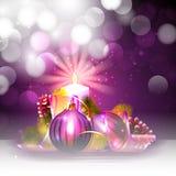 与蜡烛光的圣诞节背景 免版税库存图片