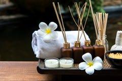 与蜡烛和羽毛的泰国温泉构成治疗芳香疗法在木桌上开花 库存图片