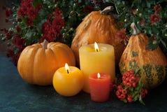 与蜡烛和花的秋天装饰 免版税库存图片