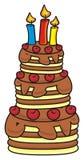 与蜡烛的三层的蛋糕 库存照片