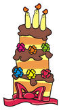 与蜡烛的三层的蛋糕 免版税图库摄影