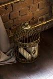 与蜡烛的古铜色闭合的笼子 免版税库存照片