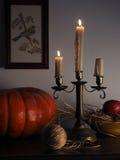 与蜡烛的土气静物画 免版税库存图片