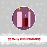 与蜡烛的圣诞卡模板 免版税库存图片