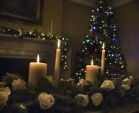 与蜡烛的圣诞节桌植物布置 库存图片