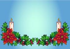 与蜡烛的圣诞节gerland 与一品红和霍莉的圣诞节装饰在蓝色梯度背景 圣诞节和新年de 皇族释放例证