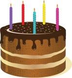与蜡烛的大蛋糕。 免版税库存图片