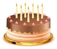 与蜡烛的巧克力蛋糕 免版税图库摄影