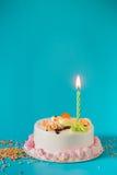 与蜡烛的生日蛋糕在颜色背景 免版税库存图片