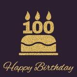 与蜡烛的生日蛋糕以第100象的形式 生日标志 金子闪闪发光和闪烁 免版税库存照片