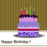 与蜡烛的生日蛋糕 图库摄影