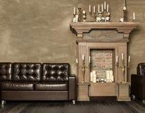 与蜡烛的装饰壁炉 免版税库存图片