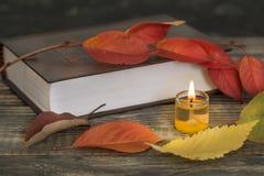 与蜡烛的诗书 免版税库存图片