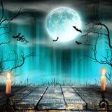 与蜡烛的鬼的万圣夜背景 免版税库存图片