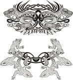 与蜥蜴的风格化对称的装饰图案 库存照片