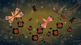 与蜻蜓和鸦片的原史艺术传染媒介绘画开花 向量例证