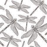 与蜻蜓` s的无缝的样式 蜻蜓背景 背景查出的白色 纹身花刺剪影 彩图 库存照片