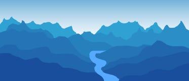 与蜿蜒在山的一条弯曲的河的美好的蓝色传染媒介风景 免版税库存照片