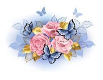 与蝴蝶的三朵桃红色玫瑰 库存例证