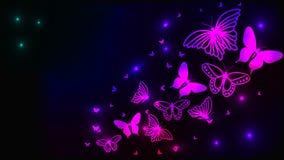 与蝴蝶的发光的抽象背景 免版税库存图片