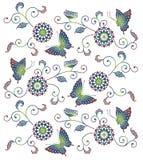 与蝴蝶的日本式花卉样式 向量例证