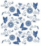 与蝴蝶的日本式靛蓝色花卉样式 图库摄影