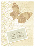 与蝴蝶的浪漫看板卡 免版税库存照片