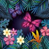 与蝴蝶的热带和exotics花 免版税库存图片