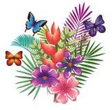 与蝴蝶的热带和exotics花 免版税图库摄影