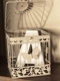 与蝴蝶的白合金笼子和在a上写字 库存照片