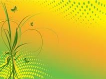 与蝴蝶的花卉抽象背景 免版税库存图片