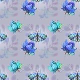 与蝴蝶的蓝色样式 皇族释放例证
