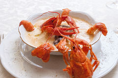 与螃蟹的海鲜汤 免版税库存照片