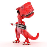 与螺丝刀的友好的动画片恐龙 库存照片