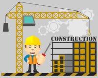 与螺丝刀的建设工程在手中在建设中背景 库存例证