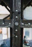 与螺丝的木细节 免版税库存照片