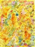 与螺旋的手拉的抽象背景在黄绿色桃红色 免版税库存图片