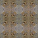 与螺栓和金属的被绘的木头详述无缝的几何pho 免版税库存照片