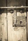 与螺栓的老木门 库存照片