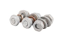 与螺母的生锈的螺栓 免版税库存图片