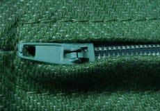 与螺纹美好的元素细节的绿色棉织物宏指令  免版税库存图片