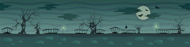 与蠕动的树和月亮的黑暗的动画片风景 皇族释放例证